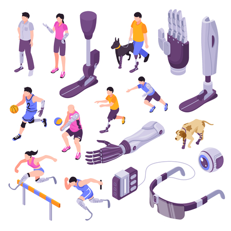 Bionic prothesis isometric set with artificial robotic limbs mined controlled   arm brain implant eye isolated vector illustration