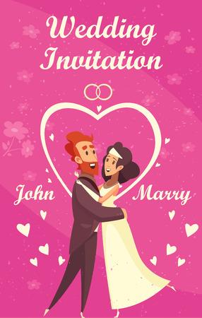 Cartoon wedding invitation with happy newlyweds on purple background vector illustration