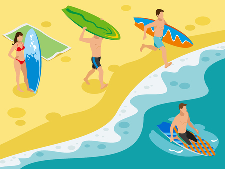 Surfing isometric composition with sandy beach coastal scenery and human characters of surfers with their boards vector illustration 일러스트