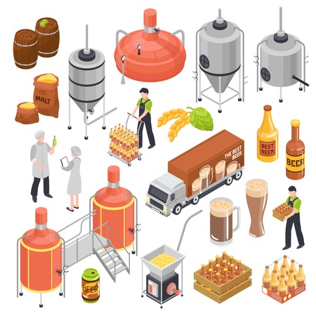 Brewery isometric elements set with barley grain hops malting boiling fermentation bottling aging transportation isolated vector illustration Illustration