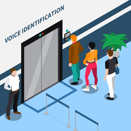 Access identification isometric composition with people standing before office door equipped with voice recognition device vector illustration Illustration