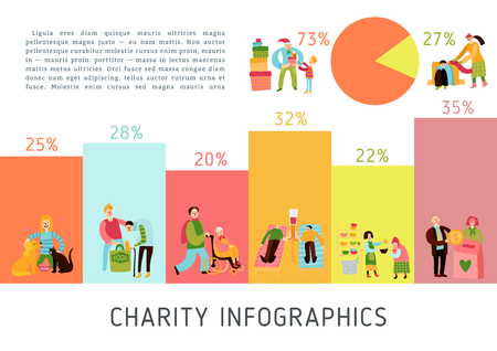 Charity types infographics layout with statistical accounting of food sharing helping pets and aged blood donoring and donating money flat vector illustration