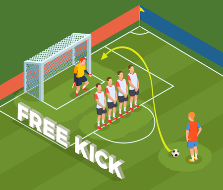 Football soccer isometric people composition with play ground court and player characters defensive wall and goalkeeper vector illustration