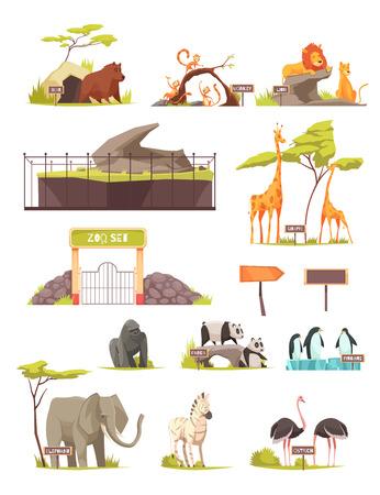 Collection d'icônes de dessin animé animaux zoo avec zèbre éléphant oiseau autruche lions girafe panda pingouins isolé illustration vectorielle
