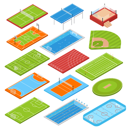 Sport clubs football soccer fields isometric icons collection with basketball tennis courts boxing ring swimming pool vector illustration  Illustration