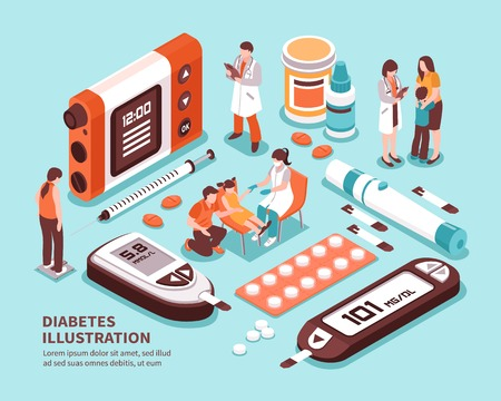 Diabetic patient life isometric composition with diagnosis sugar level tests weight control diet insulin injection vector illustration  Ilustrace
