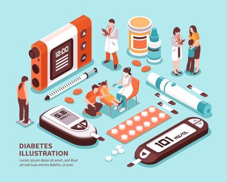 Skład izometryczny życia pacjenta z cukrzycą z diagnozą testów poziomu cukru, kontrola masy ciała, dieta, wstrzyknięcie insuliny, ilustracja wektorowa