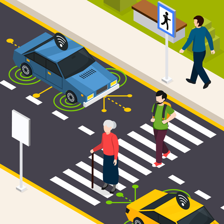 City crosswalk isometric background with pedestrians crossing street and autonomous driverless car on road vector illustration