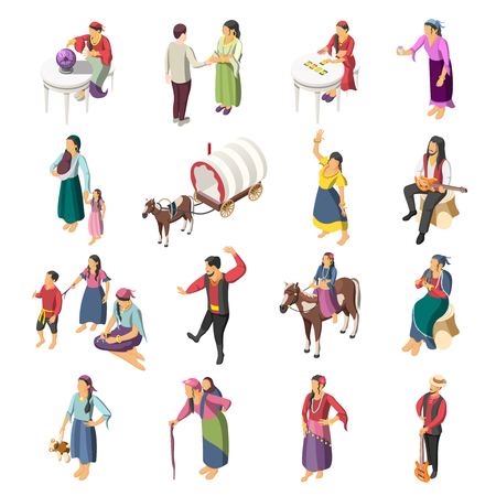 Gypsies isometric icons set of adult romany people with children leading liberty nomadic lifestyle isolated vector illustration