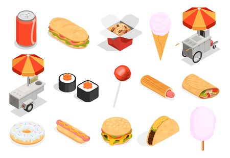 Street food icons set with sweets and fast food symbols isometric isolated vector illustration Illustration