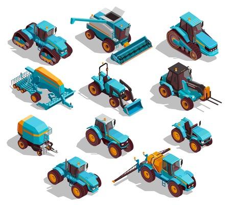 Iconos isométricos de máquinas agrícolas con tractor y pulverizador aislado ilustración vectorial