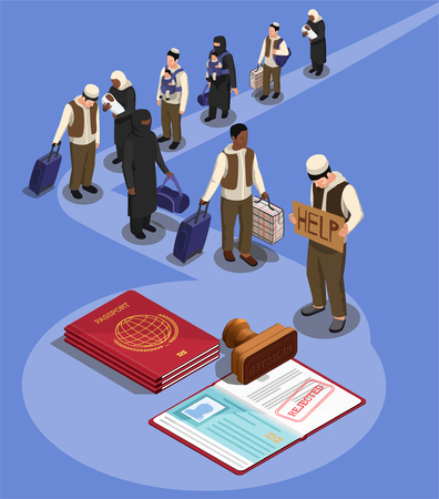 Stateless refugees asylum icons isometric composition with characters of displaced persons and rejected visa in passport vector illustration