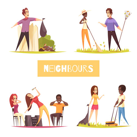 Neighbors 2x2 design concept with dancing girls man suffering from noise and talking outdoor cartoon vector illustration  Illustration