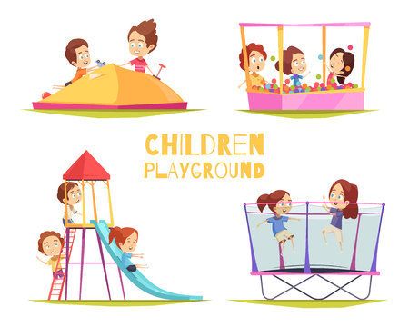 Children playground design concept set with four isolated images of playground equipment and characters of kids vector illustration