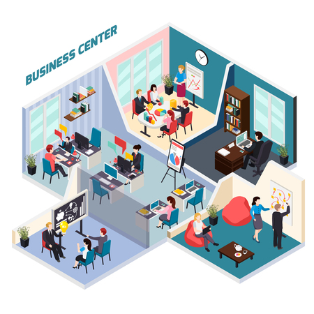 Business center isometric composition with corporate meeting, employees at work places, staff coaching  vector illustration