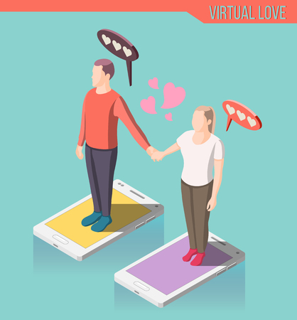 Virtual love isometric composition, man and woman standing on smart phone screen and holding hands vector illustration