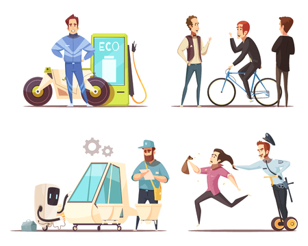 Eco transport concept 4 cartoon icons square with electric vehicle bicycle and green fuel motorcycle isolated vector illustration