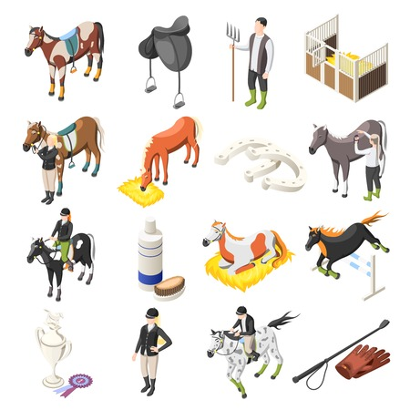 Horse riding isometric set of horses riders jockey accessories and stable staff isolated icons vector illustration Vettoriali