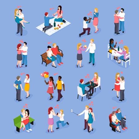 Loving couple during date or romantic dinner set of isometric icons isolated on blue background vector illustration