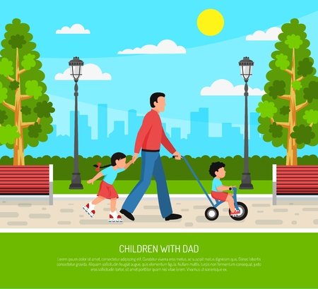 Parenting family outdoor activities daddy with little children walking in park flat poster cityscape background vector illustration  Illustration