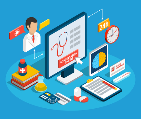 Online doctor consultation service and different medical objects isometric concept 3d vector illustration