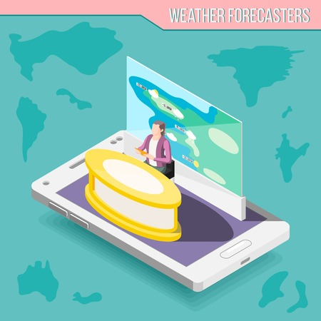 Meteorologist presenter with weather map on mobile device screen isometric composition on turquoise background vector illustration