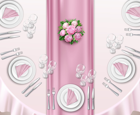 Wedding table set up realistic background with top view of oval table decorated by roses  vector illustration