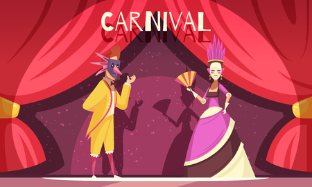 Cartoon background with two people wearing costumes and masks at carnival vector illustration Banque d'images - 102305080