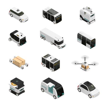 Iconos isométricos de vehículos autónomos, autobús sin conductor, taxi y camión, sistemas de entrega robóticos, ilustración vectorial aislada