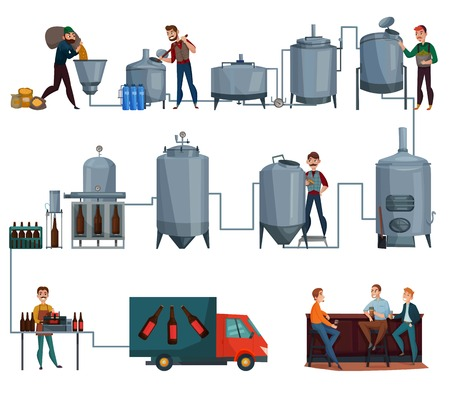 Beer production cartoon set, manufacturing line of brewing and men with drink in bar isolated vector illustration