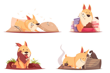 Puppy during pranks with pillow, ground and trash, near bowl with feed, design concept isolated vector illustration  Illustration