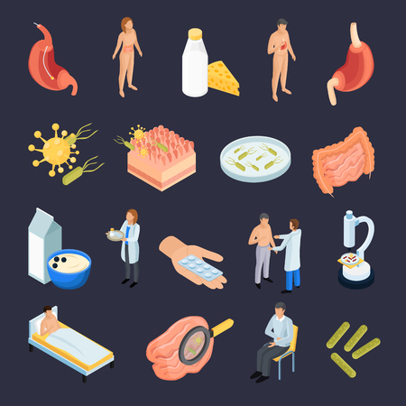 Probiotics isometric icons set of isolated human organs and molecular structures with pills and people characters vector illustration