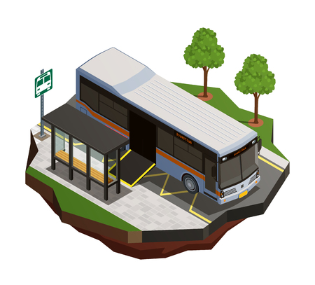 Public city transport isometric composition with view of bus stop and municipal bus with wheelchair ramp vector illustration