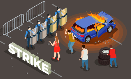 Police isometric background with strike police and people symbols vector illustration