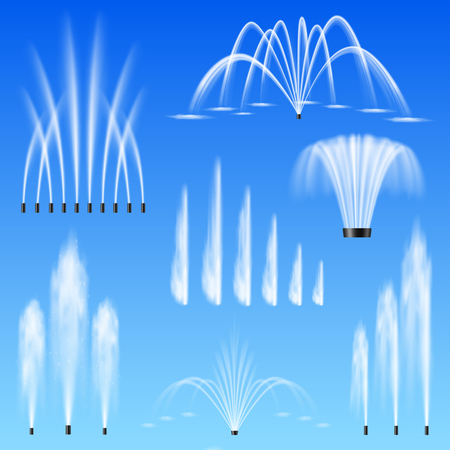 Decorative outdoor water jets fountains set of 7 various shapes size range against blue background vector illustration