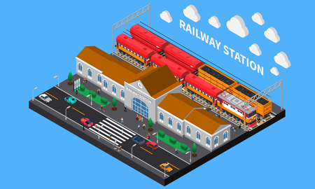 Railway station isometric composition with freight and passenger trains waiting for departure at platform vector illustration