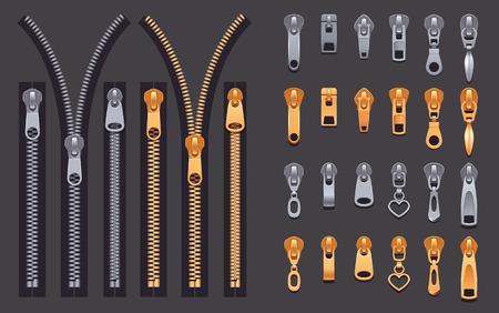 Conjunto de cremalleras y tiradores cerrados y abiertos metálicos dorados y plateados, conjunto realista aislado en la ilustración de vector de fondo negro