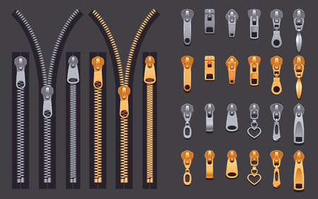 Set of gold and silver metallic closed and open zippers and pullers realistic set isolated on black background vector illustration Ilustração