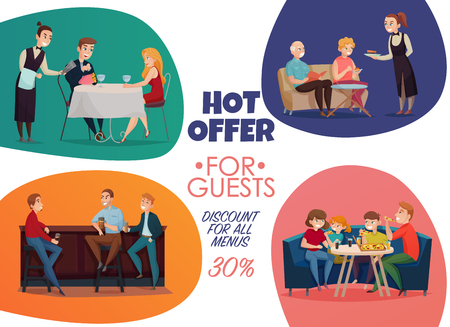 Colored flat restaurant pub visitors poster with hot offer for guests discounts for all menus descriptions vector illustration