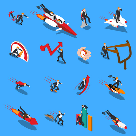 Accelerate business concept isometric icons set of businessmen racing to goal using different methods isolated vector illustration