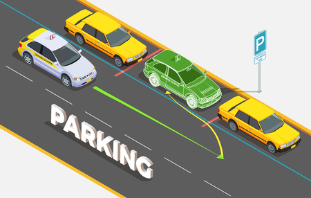 Driving school isometric composition with text and cars on parking with phantom image and colourful arrows vector illustration Illustration