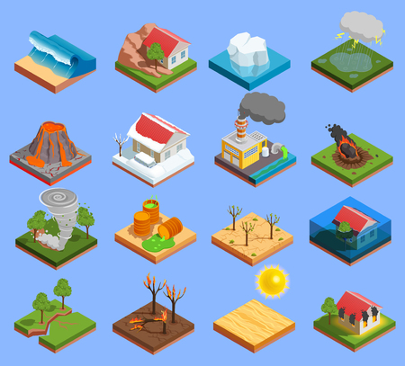 Natural disaster isometric icons set with volcano eruption and flood isolated vector illustration