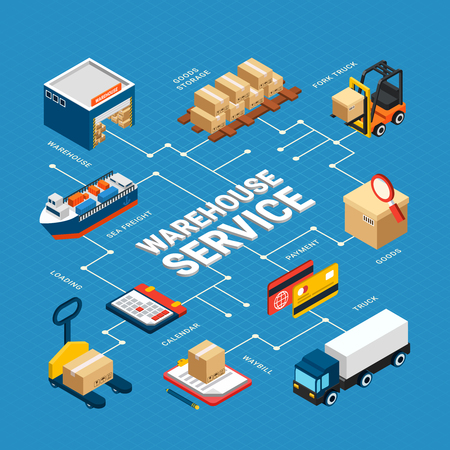 Warehouse service isometric infographics with various logistics transport on blue background 3d vector illustration Illustration