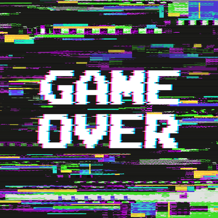 Game over text on video game screen with glitch effect on colored distorted background vector illustration