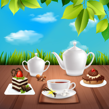 Tea crockery with chocolate desserts on wooden table realistic composition on nature background vector illustration