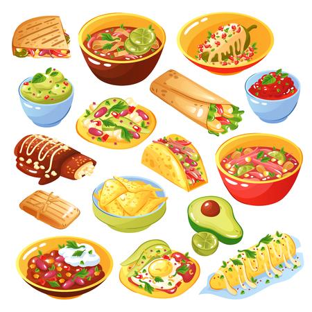 Colección de platos de comida mexicana tradicional con tacos quesadilla chips de tortilla salsa de aguacate aislado fondo blanco ilustración vectorial