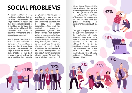 Social problems infographics layout with text content and percent proportion information flat vector illustration