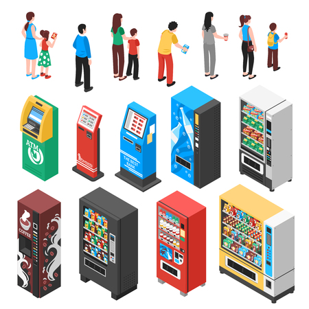 Automaticvending machines selling snacks refreshments coffee soup drinks tickets contraceptives isometric icons collection isolated vector illustration  Illustration