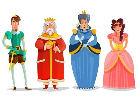 Conjunto de dibujos animados de personas de hadas con estatuillas de rey príncipe princesas reina aisladas sobre fondo blanco ilustración vectorial plana