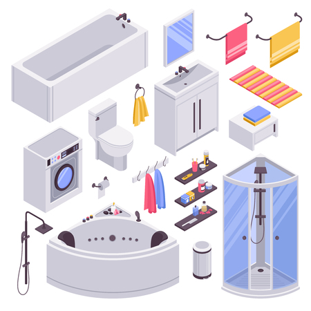 Bathroom units furniture accessories isometric set with bathtubs shower cabins cubicles towel holder sink isolated vector illustration